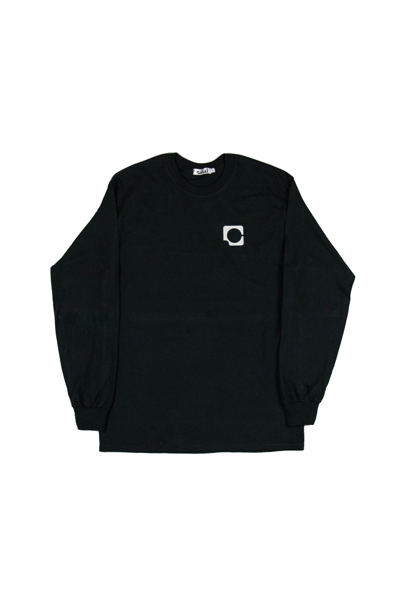 Front Image of Cabal Icon Embroidered on Breast Black Long Sleeve Graphic Tee