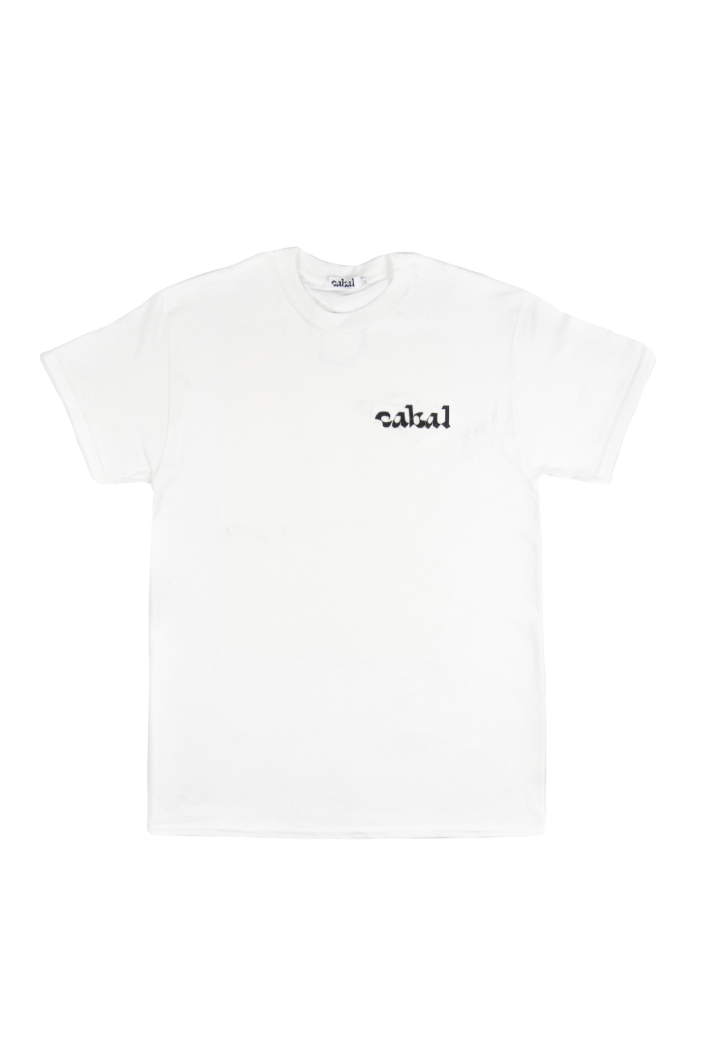 Front Image of Cabal Logo Screenprinted on Breast White Short Sleeve Graphic Tee