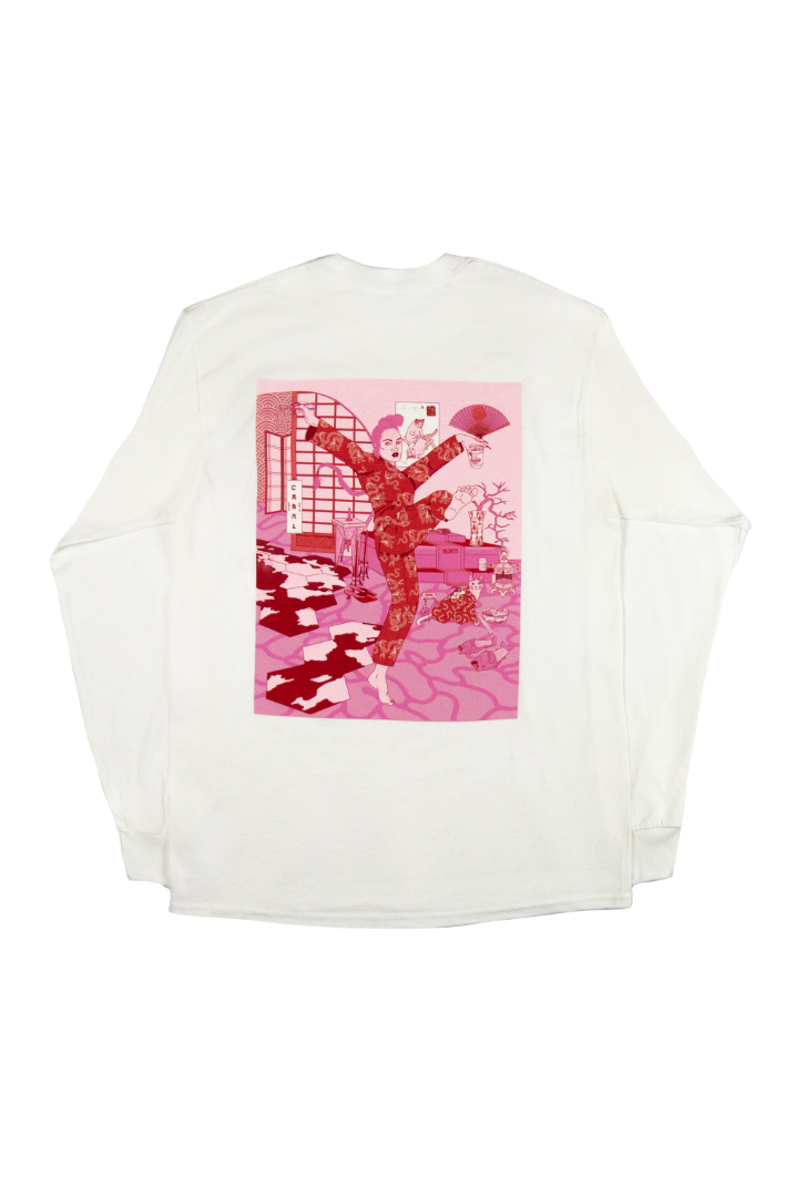 Rear Image of Cabal x Alannah Calvert White Long Sleeve Graphic Tee