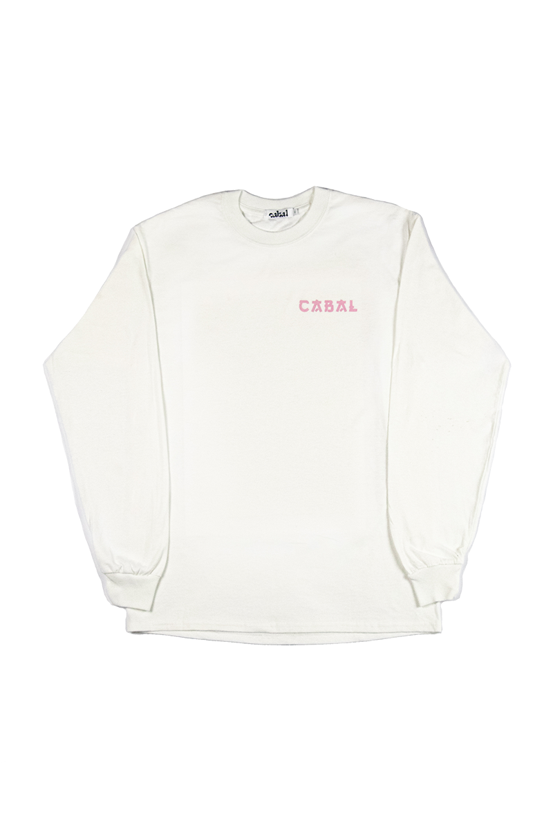 Front Image of Cabal x Alannah Calvert White Long Sleeve Graphic Tee